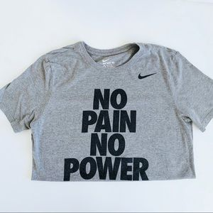 Nike • No Pain/Power Athletic Cut Gym Graphic Tee
